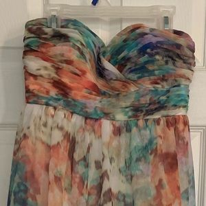 "Beautiful ""watercolor"" strapless maxi dress"